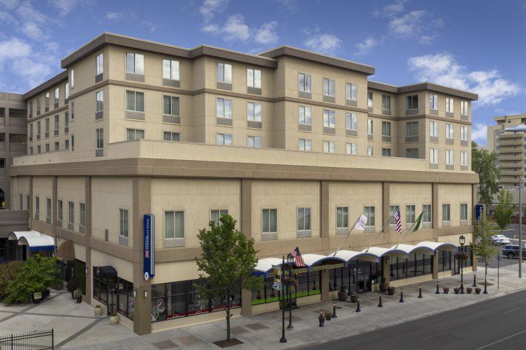 Exterior Drone photo of Hilton Garden Inn Yakima WA