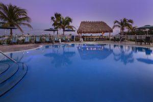 Hampton Inn Marathon FL Pool at dusk