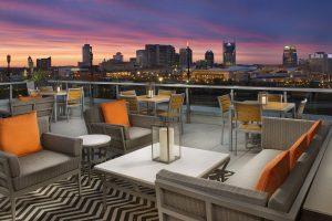 Fairfield Inn and Suites Nashville TN Patio dusk