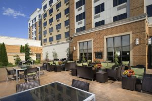 DoubleTree by Hilton Front Desk Sterling Virginia Daytime Patio