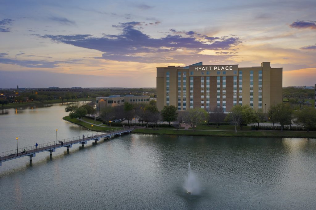 Exterior Drone image of Hyatt Place Houston Texas