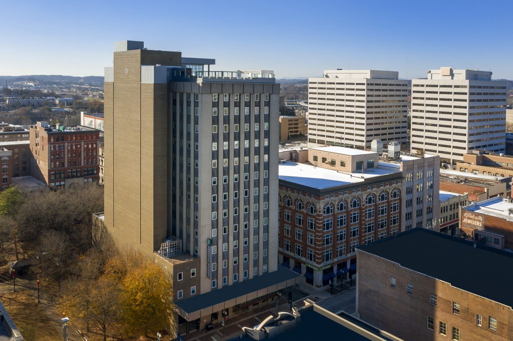 Exterior Drone photo of Embassy Suites by Hilton Knoxville TN